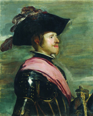 """Portrait of Philip IV. Copy of a fragment of the """"Equestrian portrait of Philip IV"""" the works of Velazquez 1630-ies"""
