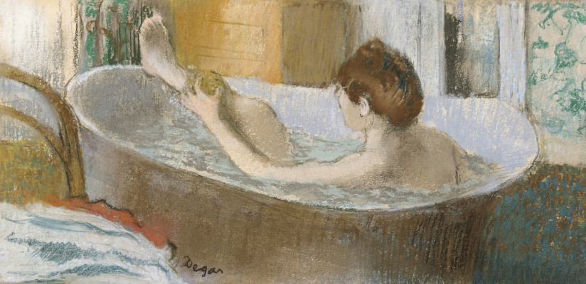 Edgar Degas. Woman in bath washing leg