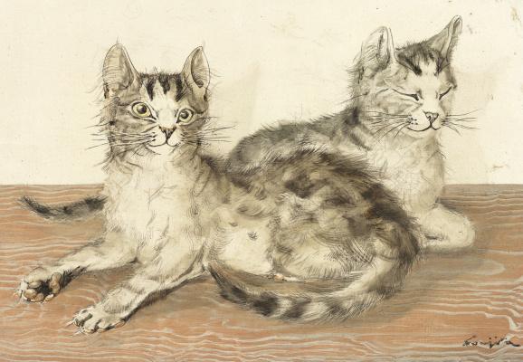 Zuguharu Fujita (Léonard Fujita). Two cats