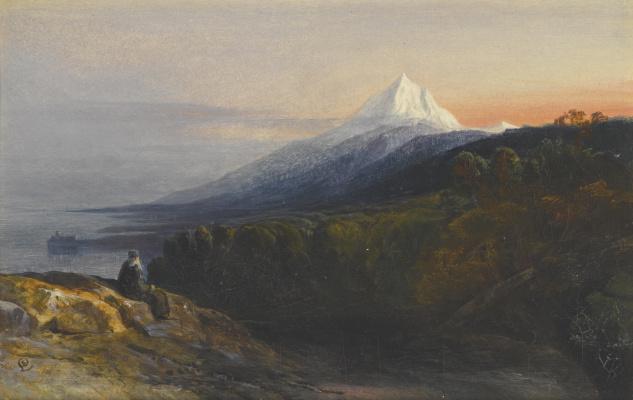 Эдвард Лир. View of Mount Athos and Pantokrator Monastery