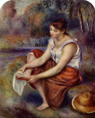 Pierre-Auguste Renoir. The girl, wiping his feet