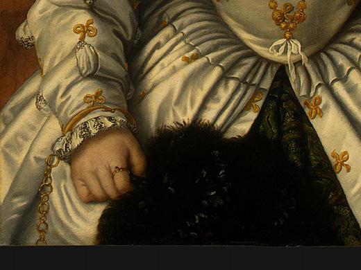 Моретто да Брешиа. Фрагмент портрета дамы в белом