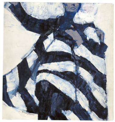 Michael Johnson. Woman in black and white coat