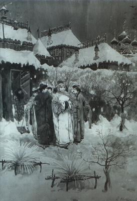 Andrei Petrovich Ryabushkin. Exit boyfriends with nannies in the garden. 1893