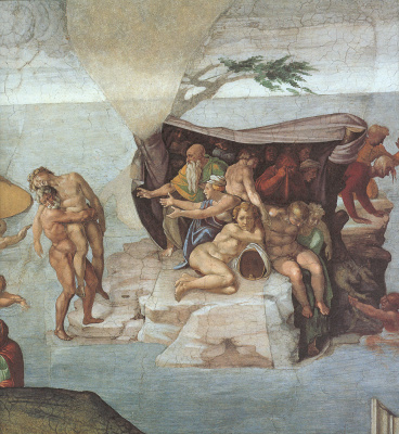Michelangelo Buonarroti. The ceiling of the Sistine chapel. Genesis. The Story Of Noah. The flood. The right view.
