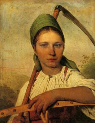 Алексей Гаврилович Венецианов. Крестьянка с косой и граблями