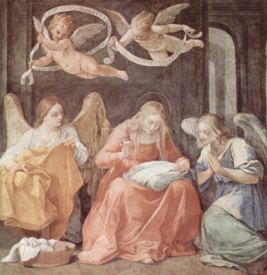 Guido Reni. Embroidering Mary and the angels