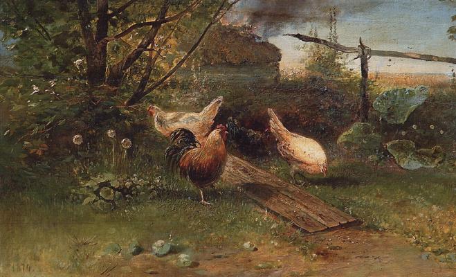 Alexey The Kondratyevich Savrasov. Summer day. Chickens in the backyard