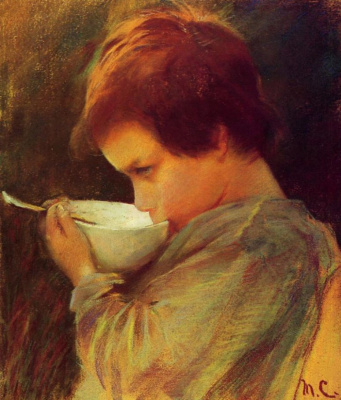 Mary Cassatt. Child drinking milk