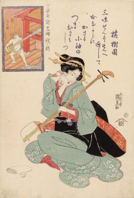 "Utagawa Kunisada. Hour Of The Dog. The fifth hour of the morning. Series ""12 o'clock modern watch face"""