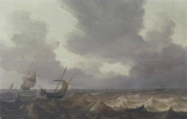 Ян Порселлис. Парусные суда и гребная лодка в штормовом море