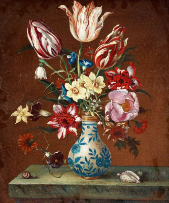 Baltazar van der Ast. Bouquet in a Chinese vase on a marble table