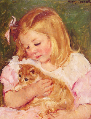 Мэри Кассат. Сара держащая кота