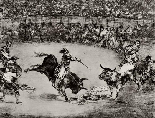 "Francisco Goya. A series of ""Corrida"", 1 sheet: Famous American Mariano Ceballos"