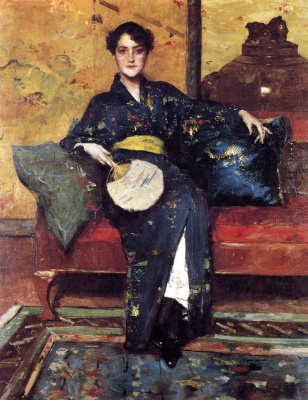 William Merritt Chase. Girl in blue kimono