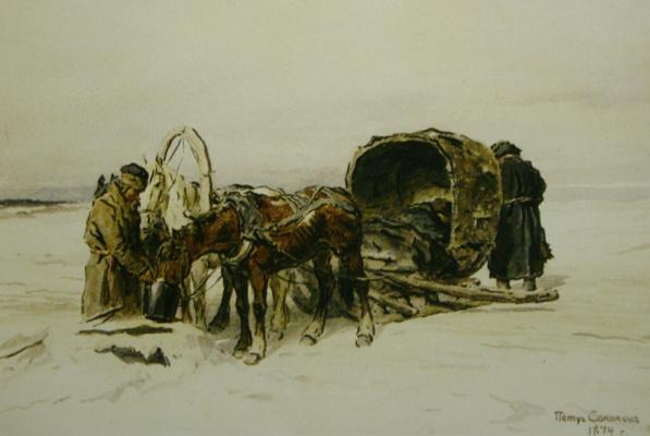 Петр Петрович Соколов. У водопоя» 1874