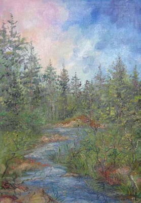 Pavel Markovich Osherov. Small river in the forest. Sunrise
