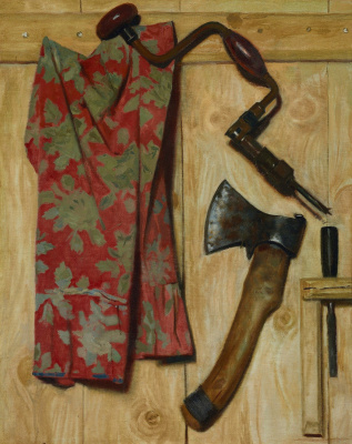 Still life with an axe and a drill