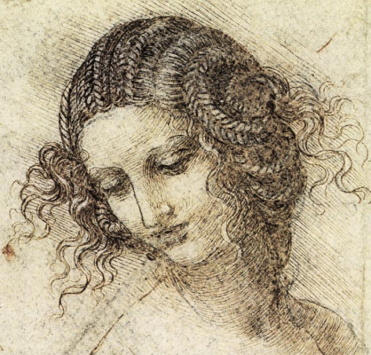 Леонардо да Винчи. Голова Леды (набросок)