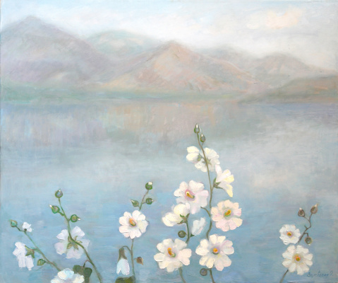 Oksana Viktorovna Zalevskaya. White mallow near the water.