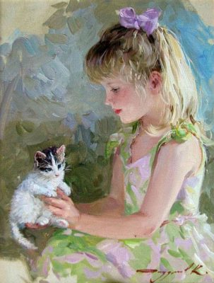 Constantine Razumov. Girl with a kitten