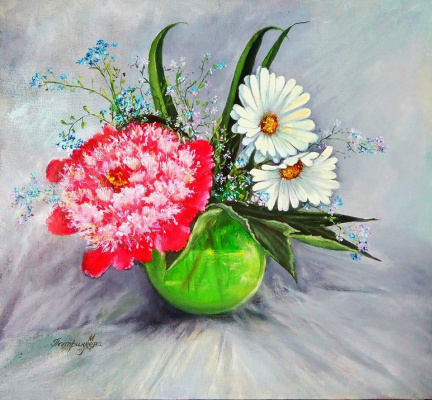 Marina Vladimirovna Patrikeeva. Bouquet with daisies, peony and forget-me-nots