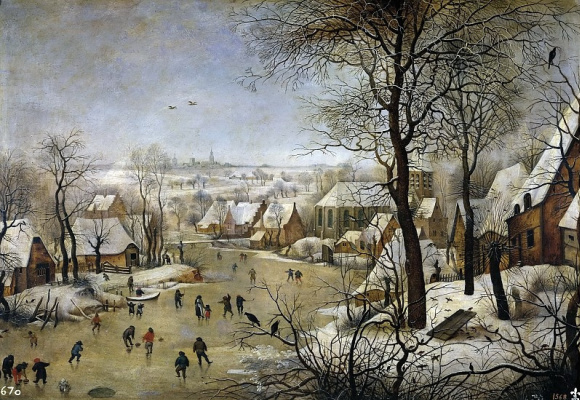 Peter Brueghel The Younger. Winter landscape with skaters and bird trap