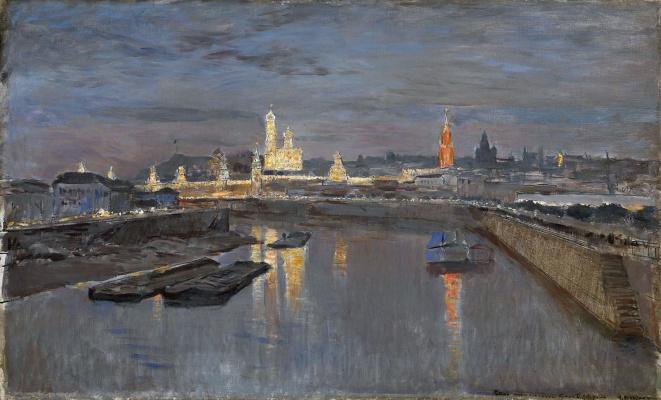 Исаак Ильич Левитан. Иллюминация Московского Кремля в честь коронации Николая II, 18 мая 1896 года