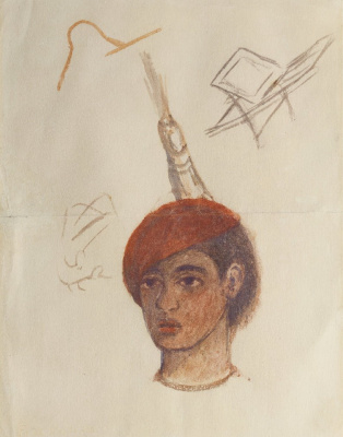 Frida Kahlo. Self portrait in red cap