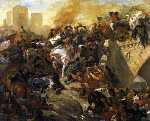 Эжен Делакруа. Битва при Тайбурге. Эскиз