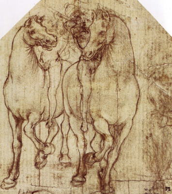 """Леонардо да Винчи. Эскиз всадников для """"Поклонения волхвов"""""""