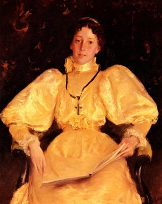 William Merritt Chase. Girl in gold dress