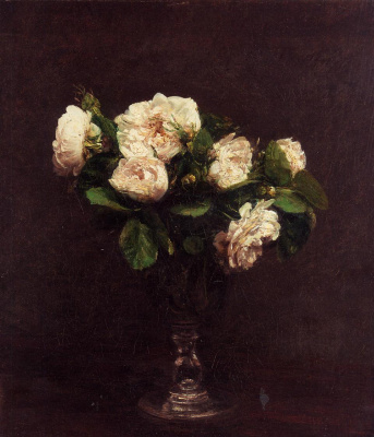 Henri Fantin-Latour. White roses in a vase