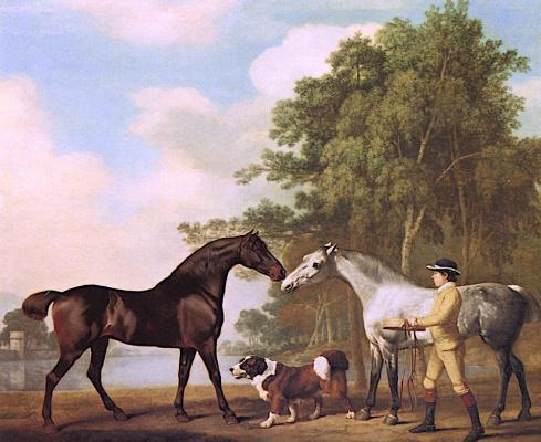 Джордж Стаббс. Две лошади и конюх