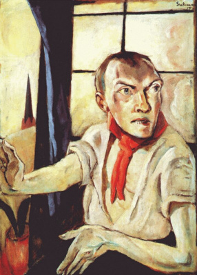 Max Beckmann. Self-portrait with red scarf