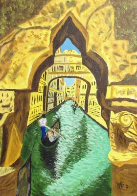 Artashes Badalyan. Canal in Venice - x-map.-gouache