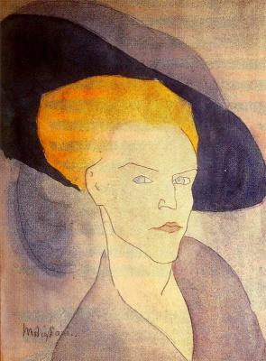 Amedeo Modigliani. A woman in a blue hat