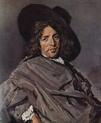 Frans Hals. Portrait of a seated man in a hat, dressed on one side