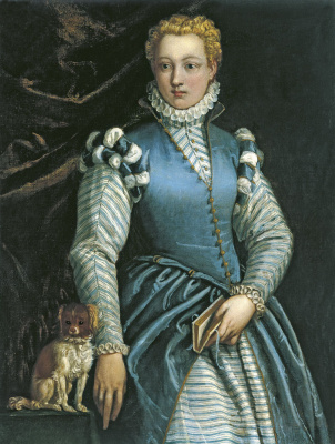 Paolo Veronese. Portrait of a woman with a dog. Isabella Andreini