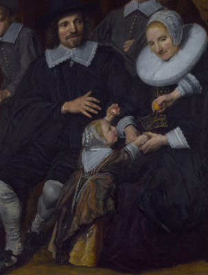 Франс Хальс. Пейзаж с семьей. Фрагмент 1. Супружеская пара с ребенком
