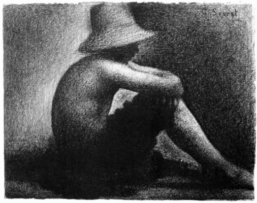 Georges Seurat. Sitting boy in straw hat