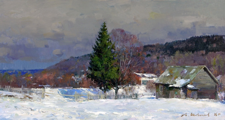 Alexander Victorovich Shevelyov. Winter Sherehovichi.Oil on canvas of 27.3 # 50,4 cm 2006