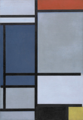 Piet Mondrian. Kompozicia with red, blue, black, yellow and grey