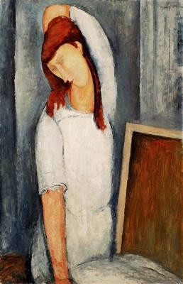 Amedeo Modigliani. Portrait of Jeanne hebuterne, left hand combing flowing hair