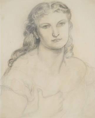 """Dante Gabriel Rossetti. Portrait of a young woman. Sketch for the painting """"Venus Verticordia"""""""