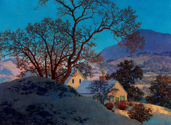 Maxfield Parrish. Early winter morning. First snow