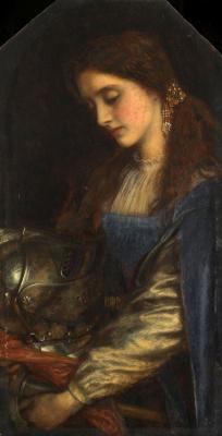 Arthur Hughes. Elaine with the armour of Lancelot