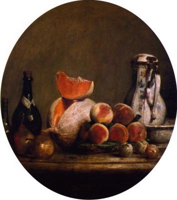 Жан Батист Симеон Шарден. Натюрморт с кувшином, бутылкой, персиками и долькой дыни