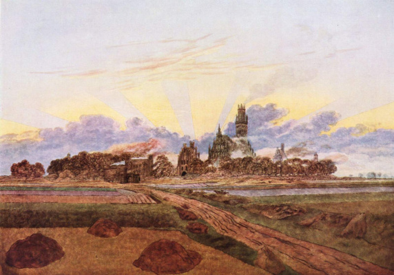 Caspar David Friedrich. Sunrise, view on Neubrandenburg