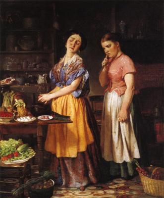 Лилли Мартин Спенсер. Молодая жена: первое приготовление обеда